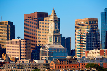 Boston skyline in sunlight at Massachusetts