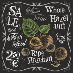 whole hazelnut vector logo design template.  nut, walnut or menu