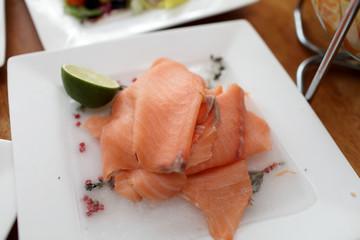Chopped raw fish