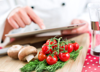 Chef searching for recipe