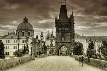 Old and historic Charles Bridge in Prague