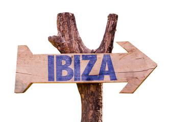 Ibiza wooden sign isolated on white background