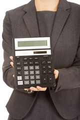 Business woman with a calculator.