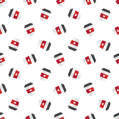 Vector flat coffee cup seamless pattern
