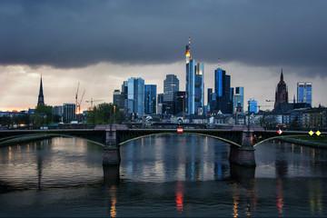 Frankfurt Skyline in the evening, Germany