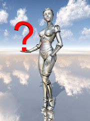 Female robot with question mark