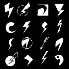 Set of lightning icons