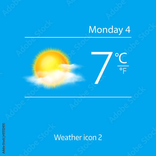 Realistic weather icon - sun with clouds. Vector illustration
