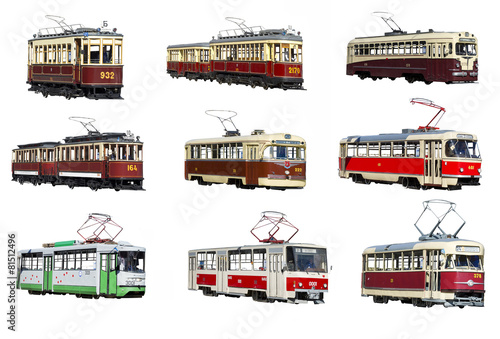 Moscow tram on a white background isolated - 81512496