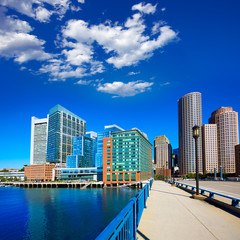 Boston skyline from Seaport boulevard bridge