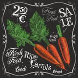 Fototapety ripe carrots vector logo design template.  fresh vegetables