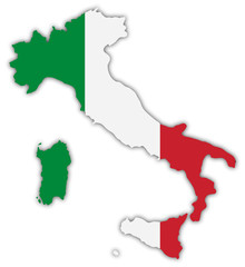Italy, map, in national colors