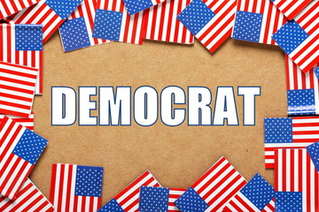 Democrat Political Party with USA Flags