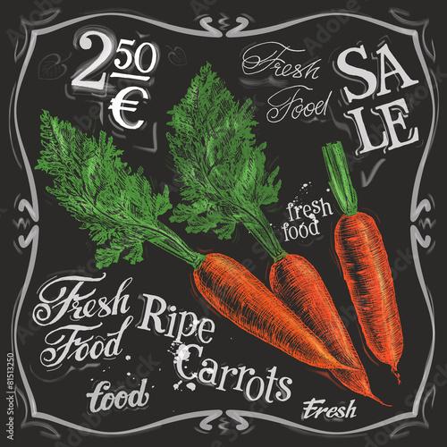 ripe carrots vector logo design template.  fresh vegetables - 81513250