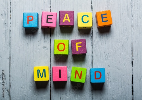 Mind. Peace of Mind wooden sign with a beach on background Photo by BillionPhotos.com