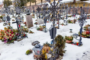Catholic cemetery on high mountains