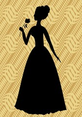 Vintage vector silhouette of a woman with rose in hand