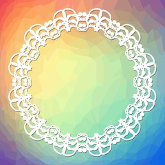 Trendy background on rainbow triangle area with white lace frame