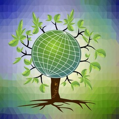 Ecological theme - tree with a globe in branches