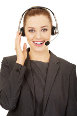 Cheerful support phone operator in headset.