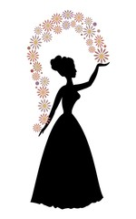 Vintage vector silhouette of a woman throwing flowers