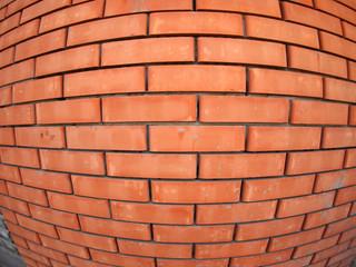 New brick wall  with wide angle fisheye view