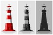 Lighthouses. Set of of large lighthouses over grey background - 81514885