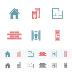 Set of simple building Flat Icons.