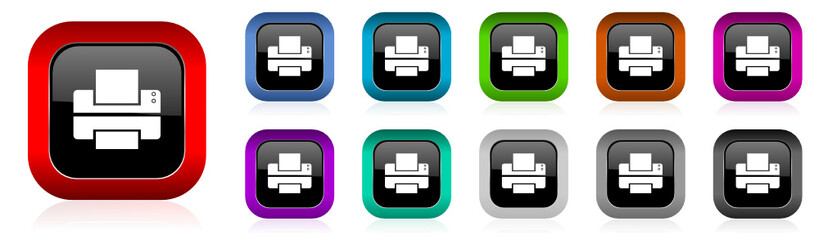 printer vector icon set