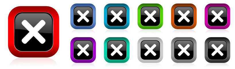 cancel vector icon set