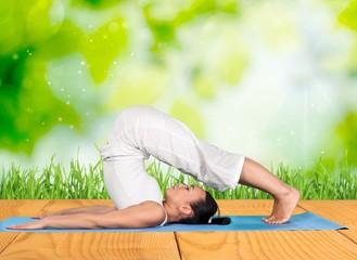 Yoga. Yoga Pose at Sunset
