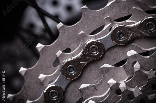 close-up of a green mountain bike