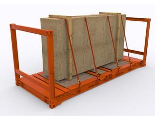 Beladener Flat Rack Container