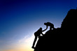 Silhouette of helping hand between two climber - 81516079