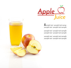 Apple juice and slice of apple with sample text on white backgro