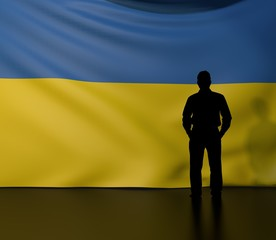 Man silhouette in front of the Ukraine flag
