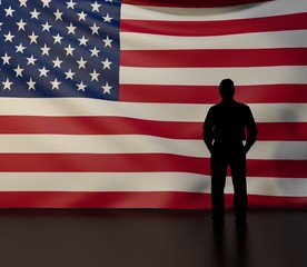 Man silhouette in front of the United States flag