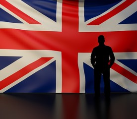 Man silhouette in front of the United Kingdom flag