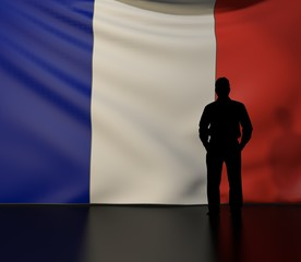 Man silhouette in front of the France flag
