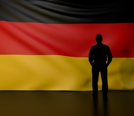 Man silhouette in front of the Germany flag