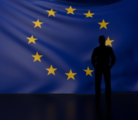 Man silhouette in front of the European Union flag