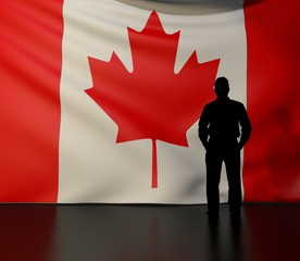 Man silhouette in front of the Canada flag