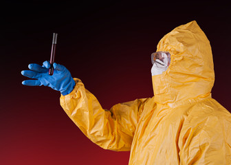 Scientist with protective suit.