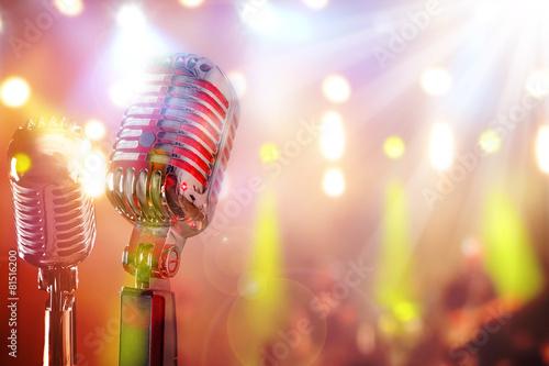 Leinwanddruck Bild Retro microphone