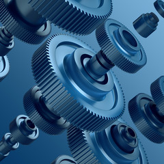 3d abstract metal gear wheels background, mechanical elements