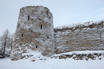 Izborsk Fortress near Pskov, Russia. Russian winter.