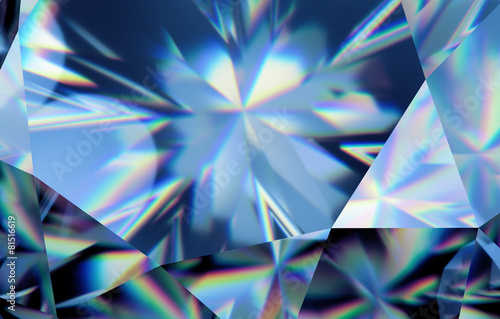3d abstract blue crystal background, faceted glass wallpaper - 81516619