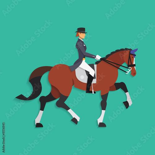 Fototapeta Dressage horse and rider, Equestrian sport