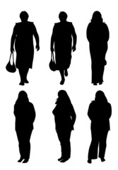 Silhouettes of plump women