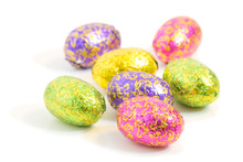 "Постер, картина, фотообои ""Close-up of chocolate Easter eggs in colorful wrappings"""
